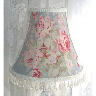"CUSTOM 7 "" LAMPSHADE shabby Pink ROSES on BLUE fabric"