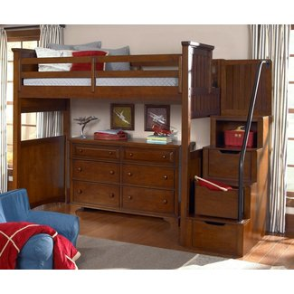 Dawson's Ridge Full Size Loft Bed with Stairs 2960-8520K ...