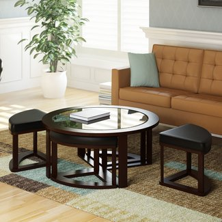 dCOR design Belgrove Coffee Table with 4 Stools | eBay