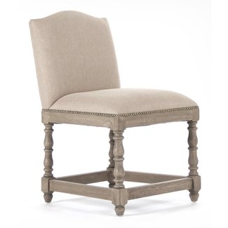 Debussy French Country Reclaimed Oak Linen Dining Chair ...