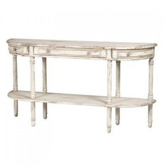 Demilune White Console Table - shabby chic