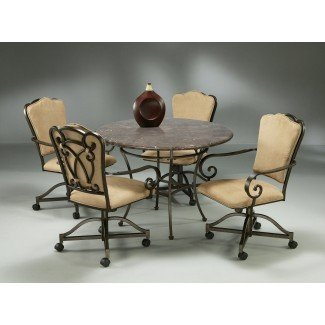 Dinette   Natural Slate Top   Caster Chairs   Metal