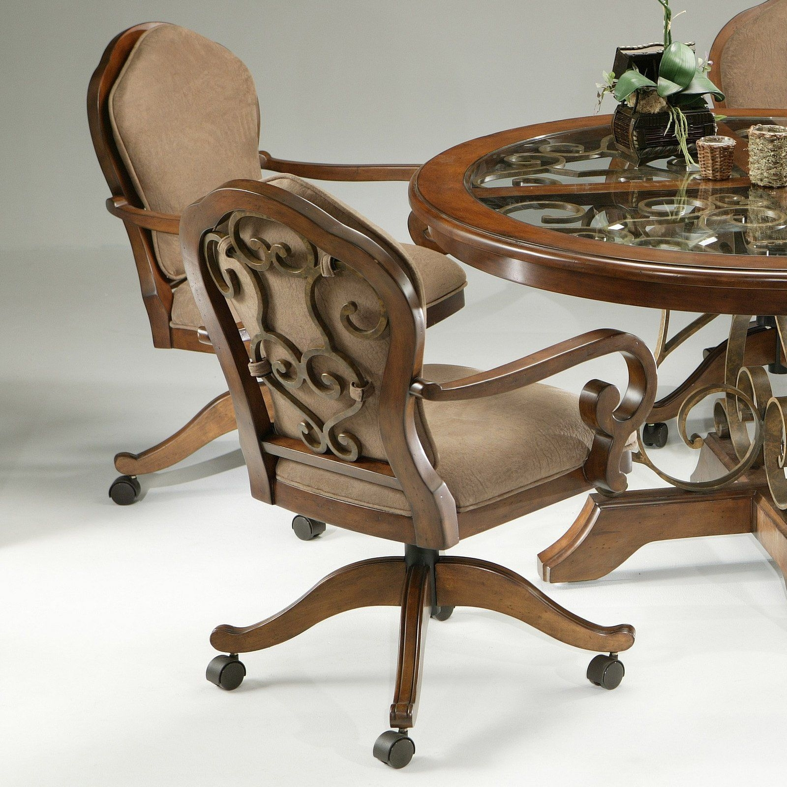 Dining Chairs Oak With Casters Upholstered Dini With . & Dining Chairs With Casters - Visual Hunt