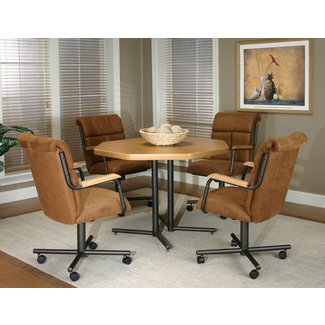 Dining Room Chairs With Casters And Arms - Metal And
