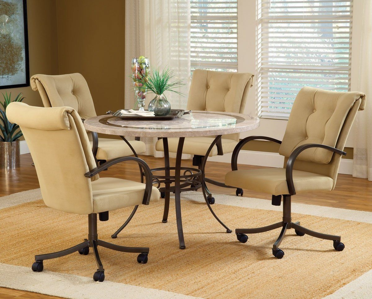 Dining Room Sets With Upholstered Chairs With Casters .