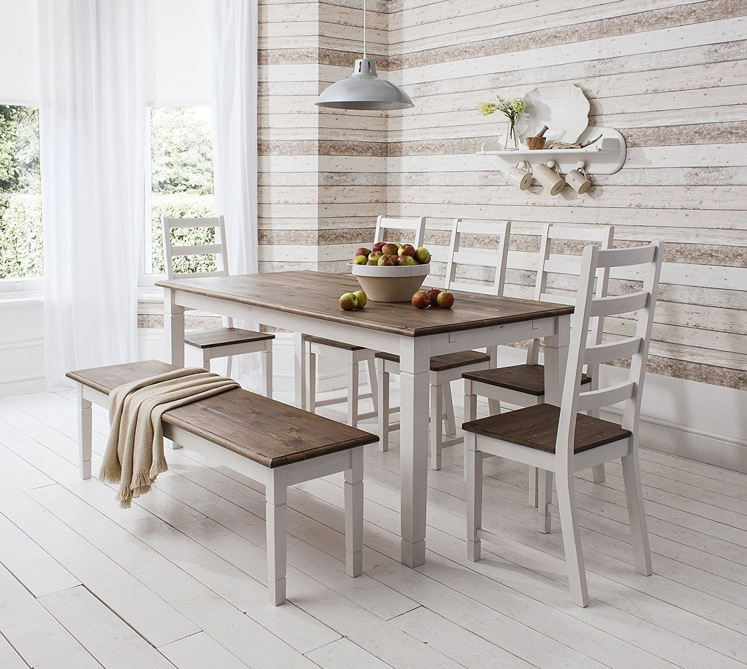 Dining Table and Chairs Canterbury White Dark Pine With Bench - Visual Hunt