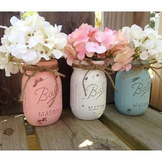 DIY Shabby Chic Mason Jars - Shop Girl Daily