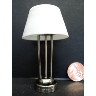 DOLLHOUSE BATTERY OPERATED TABLE LAMP/ PLATIUM FINISH | eBay