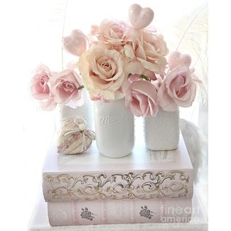 Dreamy Pastel Shabby Chic Peach And Pink White Roses ...