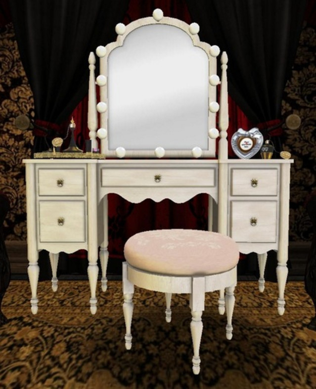 Niches Modern Vanity Dressing Table Mirror Stool Faux Leather Padded White Seat.