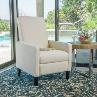 Durston Contemporary Beige Fabric Slim Recliner Chair