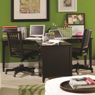 E2 Midtown Ergonomically Curved Two-Person Dual T Desk ...