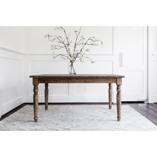 EDLOE FINCH - Rustic Modern Dining Table - French Country Farmhouse Rectangular 59 inches - Solid Elm Wood