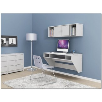 Elegant Wall Mounted Desk with Storage and Hutches on Blue
