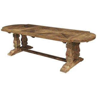 Esa French Country Reclaimed Pine Parquet Oval Dining ...