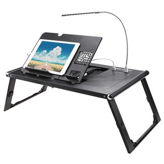 Etable Folding Adjustable Lap Desk with Built-in 10000mAh Powerbank to Recharge Tablet/Phones - Laptop Table for Macbook or Ultrabook with LED light - Tablet Stand for the Bed, Sofa