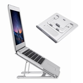 "Folding Aluminum Laptop Stand HONGUO Universal 6 Angles Adjustable Desktop Ventilated Macbook Stand for 7-15"" Notebook/ iPad / Tablets"