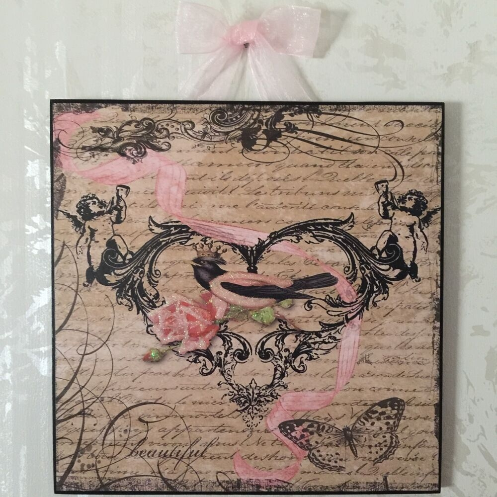 French Country Bird U0026 Rose Plaque Wall Decor Cottage .