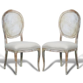 French Country Cane Round Back Chairs - distressed white