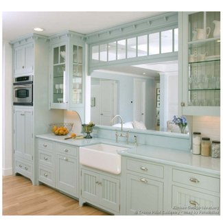 French Country Kitchen Style Featuring Cherry Cabinet In ...