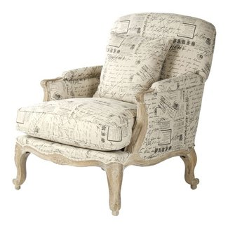 French Country Literary Script Linen Club Chair | Kathy ...