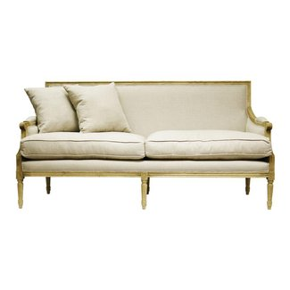 French Country Louis XVI Natural Oak Frame Linen Sofa |