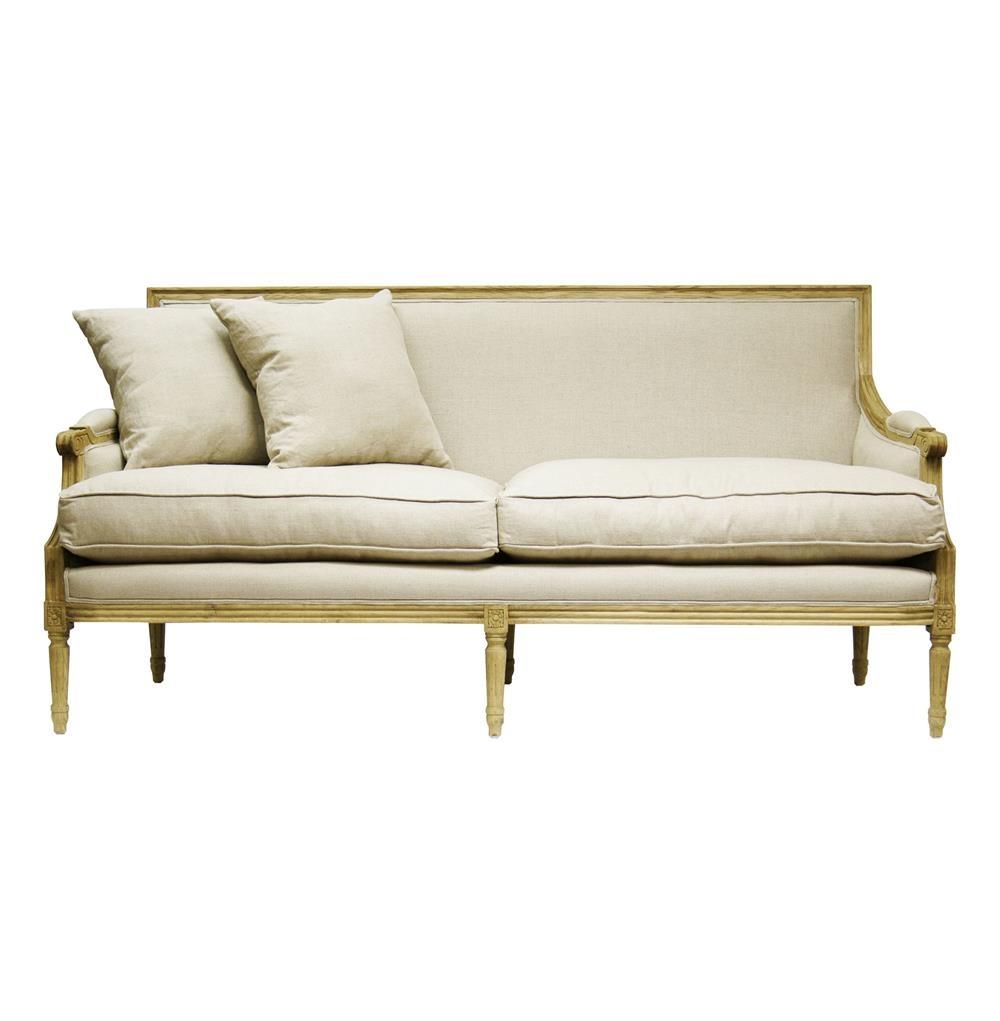 French Country Louis XVI Natural Oak Frame Linen Sofa |