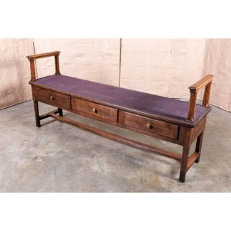 French Country Normandy Window Bench with Storage Drawers ...