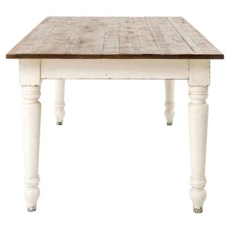 French Country Reclaimed Pine Whitewash Farmhouse Dining ...