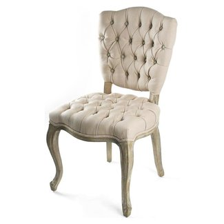 French Country Tufted Hemp Linen Piaf Dining Chair ...