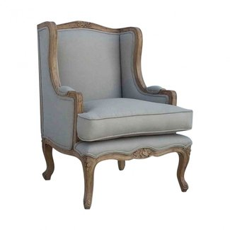 French Country Upholstered Grey Wing Arm Chair