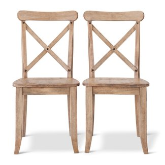 French Country X-Back Dining Chair Wood (Set of 2) :