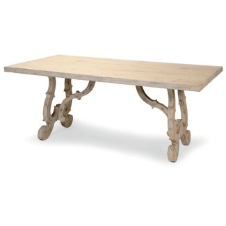 French Scroll Base Dining Table - French Country