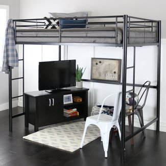 Full Size Black Finished, Metal Loft Bed, Sturdy Steel Construction, Powder-coated Finish, Space Saving Bed, Support Slats, Bundle with Expert Guide for Better Life