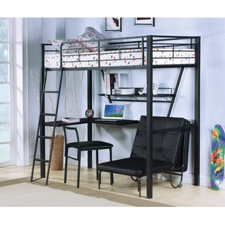 full size loft bed with desk and futon chairHerpowerhustle ...