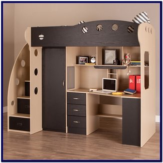 Full Size Loft Bed With Desk And Storage - Whitevan