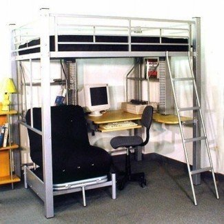 Full Size Loft Bed With Futon And Desk | Bed