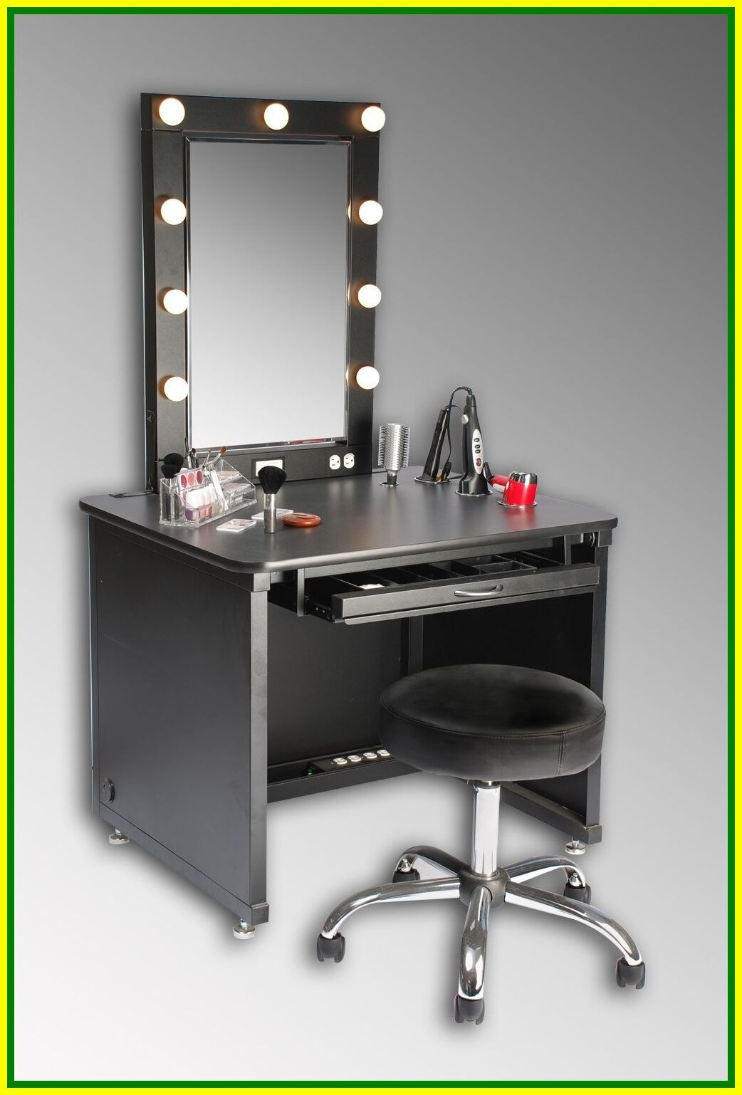 Superb Hollywood Style For A Bedroom Vanity Table Setting, Made Out Of A Small  Desk, Crafted Out Of Black Painted Wood, With A Matching Footstool Made Out  Of ...