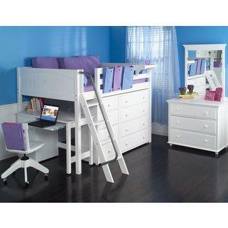 Full Size Study Loft Bed by Maxtrix Kids (white) (638)