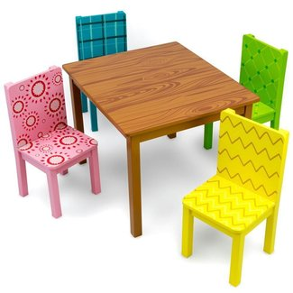 Funny Furniture Kids Wooden Table & 4 Chairs Set, Cartoon-Inspired Designs by Imagination Generation