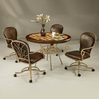 Furniture. Brown Metal Dining Room Chairs With Casters And ...
