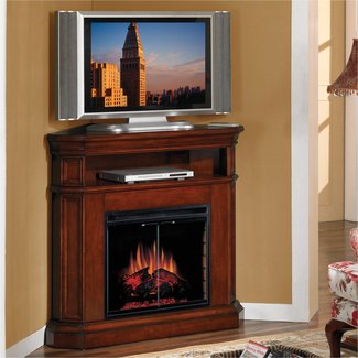 Furniture. Brown Polished Wooden Corner Electric Fireplace ...