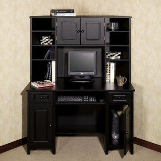 Furniture: Corner Computer Desk With Hutch For Workspace Ideas