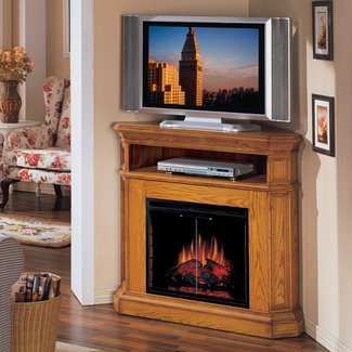 Furniture. Corner Electric Fireplace Tv Stand With Shelf ...