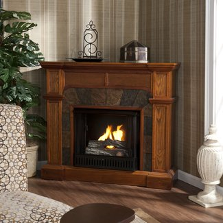 Furniture. Curved And Carved Cherry Wood Fireplace TV ...