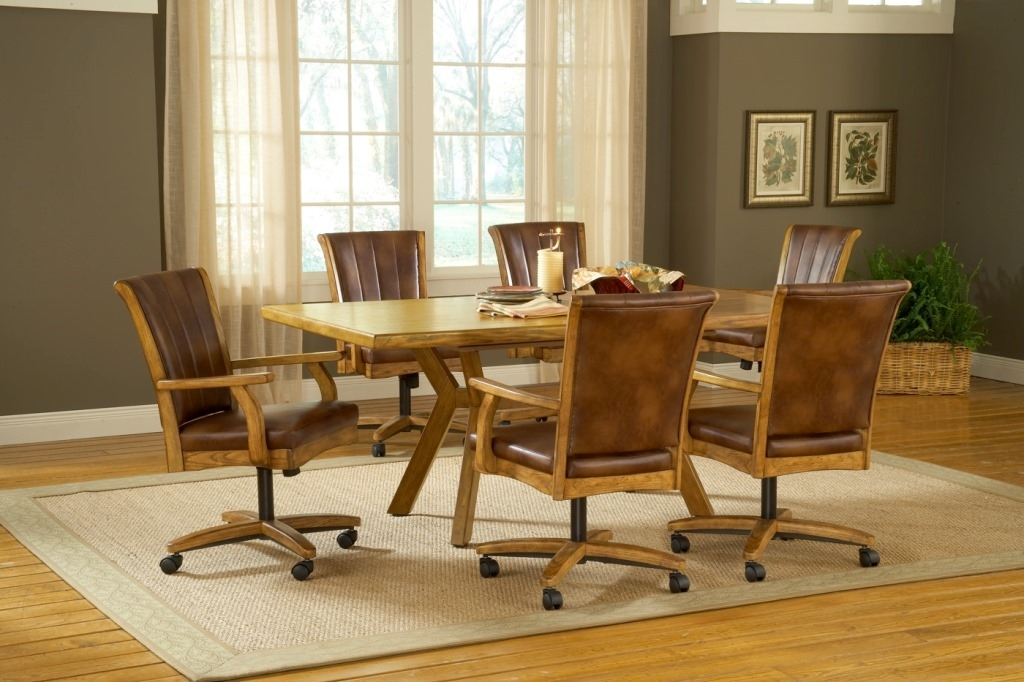 Dining Chairs With Casters You Ll Love, Leather Dining Room Chairs With Wheels