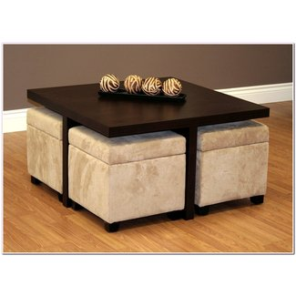 Furniture: Luxury Coffee Table With Stools For Living Room ...