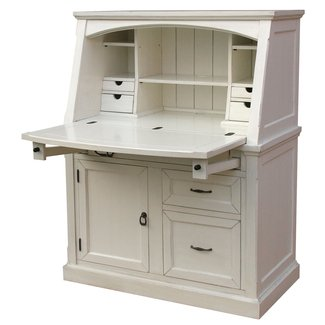Furniture: Modern Beige Secretary Desk With Hutch For Your ...