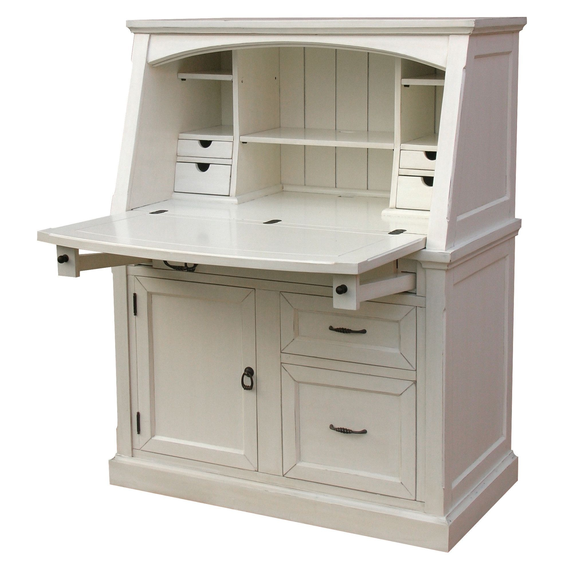 Furniture: Modern Beige Secretary Desk With Hutch For Your .