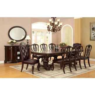 Furniture of America Berkshire Double Pedestal Dining Table - Brown Cherry